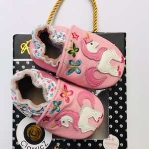 Rose Chocolat Baby Girl Unicorn Shoes 0-6 Mo